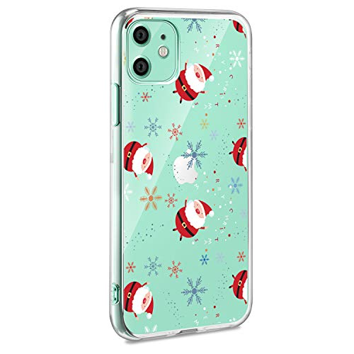 AROYI Cover iPhone 11, Trasparente Natale Pattern, Custodia iPhone 11 Crystal Clear TPU Morbido Silicone Protettiva Case per iPhone 11 [Anti-Graffio], Babbo Natale