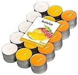 Bolsius Velas de té perfumadas con aroma de mango, multicolor, paquete de 4 horas, 30 unidades, cera, talla única