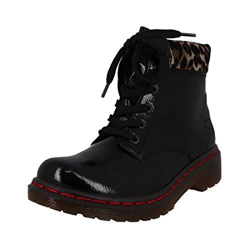 Rieker Damen Stiefel Y8212, Frauen Winterstiefel, leger Winter-Boots schnürstiefel gefüttert warm Damen Frauen,Black/Leo-Ginger,38 EU / 5 UK