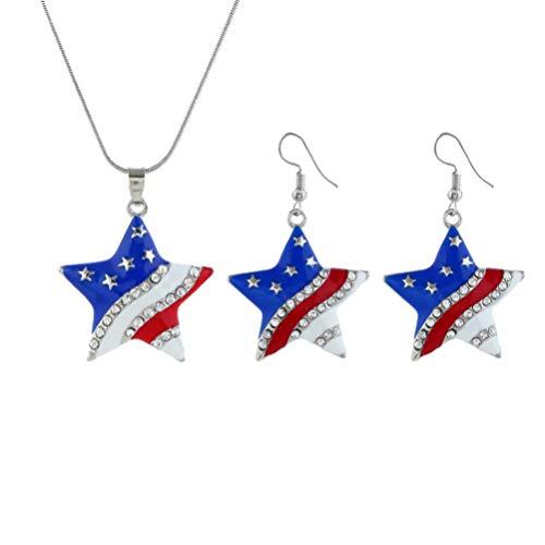 Holibanna Conjunto de Joyas del 4 de Julio Pendientes de La Bandera Americana Colgante de La Estrella Patriótica Collar Regalo de La Joyería para El Día de La Independencia Favores del