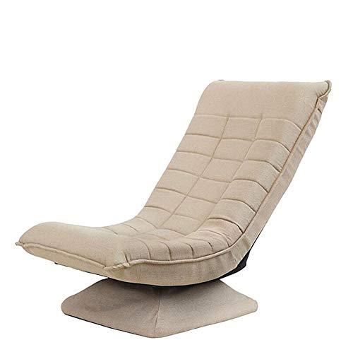Faules Sofa gepolstert,Bodensitz Mit Verstellbarer Rückenlehne, 360 Grad drehbarer Bodenspielstuhl,Wohnzimmer Schlafzimmer Fernsehen Lesespiele Beiläufig Bodensessel-Khaki(Versand aus Deutschland)
