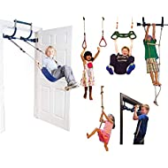 Gym1 Deluxe Indoor Doorway Gym Playground Set for Kids - All in One Gym Set - Six Ways of Fun: Blue Indoor Swing, Plastic Rings, Trapeze Bar, Climbing Ladder, Swinging Rope, and Pull Up Bar