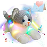 Houwsbaby LED Musical Stuffed Cat Floppy Singing Kitty Light Up Plush Toy Kitten Lullaby Animated Soothe Birthday Gifts for Kids Toddlers Girls Boys, Gray,15''