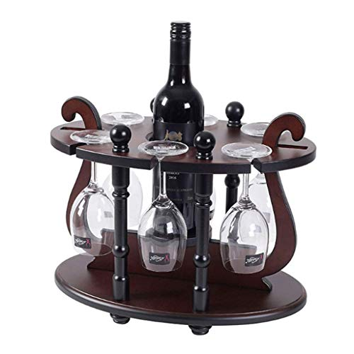 FZC-YM Free Standing Metal Wine Rack With Glass Holder, Wood Tabletop Wine Rack, Wine Glass Holder Rack, Perfect For Home Decor/Bar/Wine Cel (Color : Brown)