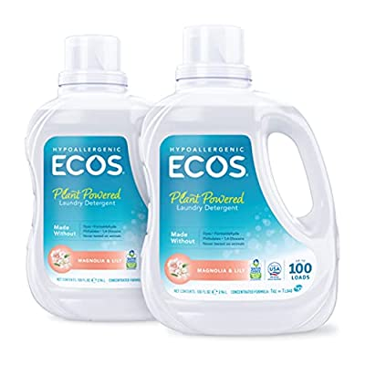 ECOS? 2X Hypoallergenic Liquid Laundry Detergent, Non-Toxic, Magnolia Lily, 200 Loads, 100oz Bottle by Earth Friendly Products (Pack of 2)