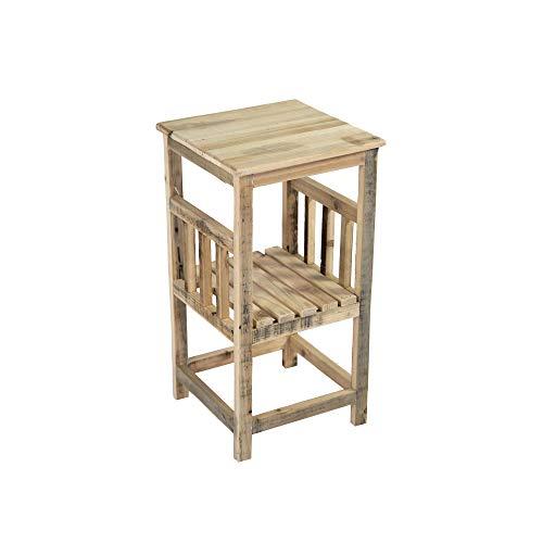 Nature by Kolibri Pflanztisch, Beistelltisch, Kleiner Gartentisch mit 1 Ablagefläche aus Holz, klein 60,5 x 32 x 32 cm (HXBXT)