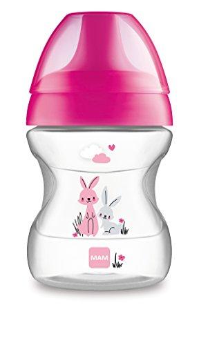 MAM Learn to Drink Trinkbecher 190 ml, Schnabelbecher für erste Trinkversuche, Trinklernbecher mit ergonomischer Form, 6+ Monate, pink
