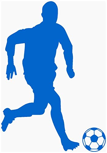 Samunshi® Fußballer Aufkleber Fußballer Sticker 763 in 9 Größen und 25 Farben (14x20cm azurblau)