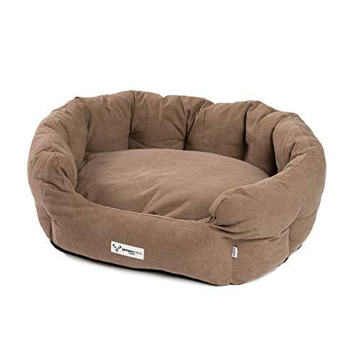 JAMAXX Ovales Hundebett mit Komfort-Füllung, Vintage Canvas Stoff, Kissen-Bezug waschbar...