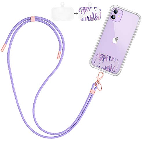 Dracool for Mobile Phone Lanyard Phone Charms Adjustable Neck Nylon Strap Keychain Chain Safety Universal Crossbody with Transparent Patch for iPhone/Samsung/Google/LG Most Smartphones Case - Purple