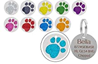 High Quality Engraved Coloured Glitter Pet ID Tag Premium Quality Diamond Engraving - Not Laser Edged! Ideal for Cats, Kittens, Puppies & Dog. Can be personalised with any information you would like such as pet name, phone number, address, post code ...
