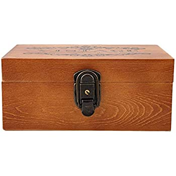 Stash Box Vintage Decorative Boxes Wooden Treasure Stash Box with Lock and Key Gift for Jewelry Storage and Home Decoration (#1)