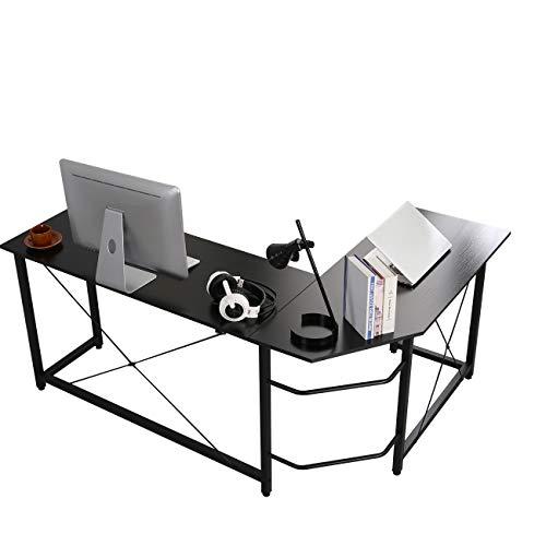 soges Escritorio en Forma de L Escritorio para computadora Escritorio de Esquina Grande Mesa de Oficina Estación de Trabajo para computadora para el hogar y la Oficina, Negro HD-SFZJ02BK