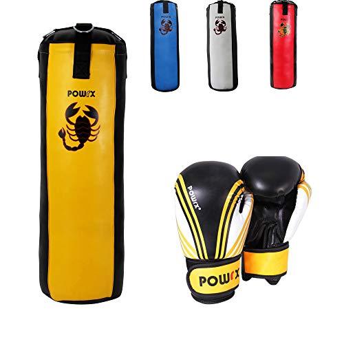 POWRX Boxset für Kinder/Jugendliche, Boxhandschuhe + Boxsack - ab 6 ((3 Fuß) (gelb/schwarz)