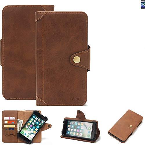 K-S-Trade® Handy-Hülle Für General Mobile GM 6 Schutz-Hülle Walletcase Bookstyle Tasche Handyhülle Schutz Hülle Handytasche Wallet Flipcase Cover PU Braun (1x)