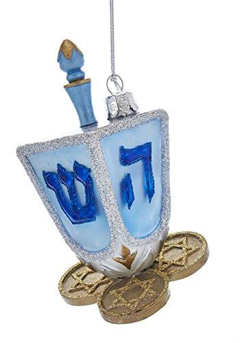 Kurt Adler Noble Gems Hanukkah Dreidel Glass Ornament NB1379 New