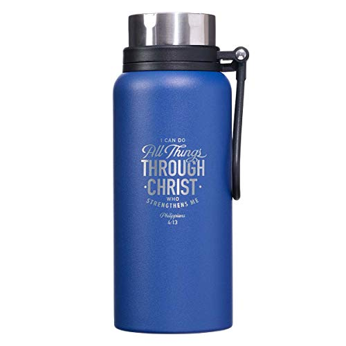 All Things Through Christ Philippians 4:13 Laser Engraved Blue Stainless Steel Double Wall Vacuum Insulated Water Bottle Carry Handle Lid Hydration Bottle for Men/Women, All Day Hot or Cold, 32 oz