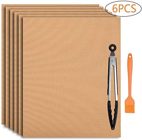 FIF 6PCS Grill & Backmatten + Grillzange + Elektrogrill - Wiederverwendbarer, antihaftbeschichteter Grill und leicht zu reinigen