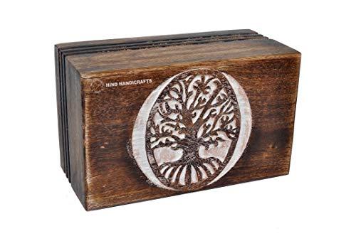 Hind Handicrafts Urnas de madera de palisandro, hechas a mano y hechas a mano, para cenizas humanas, adultos, urna funeraria, 200 pies cúbicos o libras (árbol 3, blanqueado)