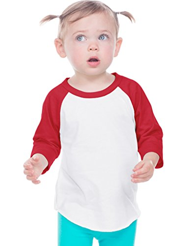 Kavio! Infant Jersey Contrast Raglan 3/4 Sleeve White/Red 12M