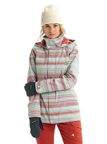Burton Womens Jet Set Jacket, Aqua Gray Revel Stripe, Small