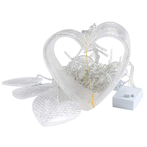 Cuerda de luces, decoración de festivales, luz de decoración principal, cadena de luces LED, luz para dormitorio, decoración, fiesta, San Valentín, cadena de luces, luces LED en forma de corazón (E)
