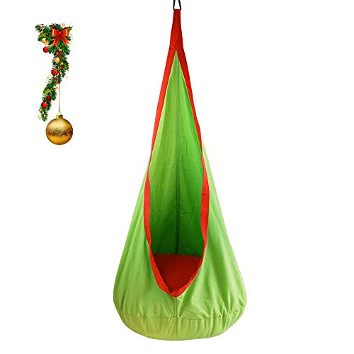 BHORMS Kids Pod Swing Seat Hammock for Indoor and Outdoor Hanging Hammock Chair-Green&Orange