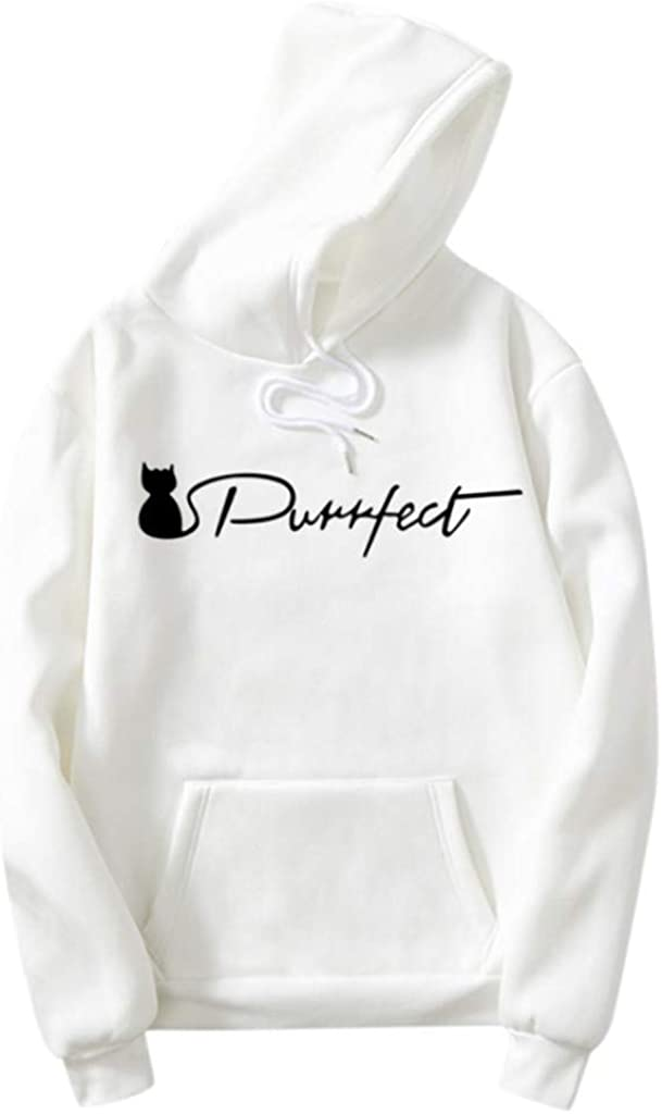 Girls' Hoodie, Misaky Autumn & Winter Casual Cat Letter Print Pocket Long Sleeve Pullover Sweatshirt Tops Blouse