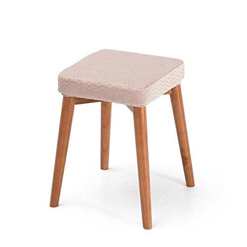 Rollsnownow Rose Wave Point Coussin Tabourets en bois massif Creative Fashion Dressing Tabouret Tabouret de table en tissu Accueil Petit Banc (Color : Wooden wooden frame)