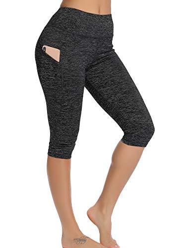 STARBILD Leggings 3/4 Mallas Pantalones de Alta Cintura Elástica Súper Transpirable Adelgazante de Yoga Deportivas Leggins para Mujer Gris Oscuro S