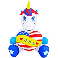 Seasonblow 4FT Patriotic Independence Day Inflatable Unicorn Holding Heart 4th of July Decoration