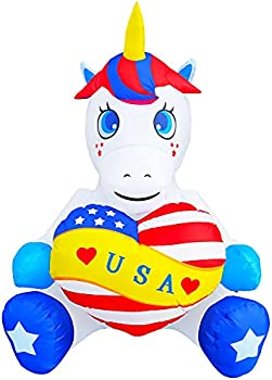Seasonblow 4FT Patriotic Independence Day Inflatable Unicorn Holding Heart