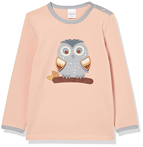 Fred's World by Green Cotton Baby-Girls Hello owl T-Shirt, Dream Blush, 98