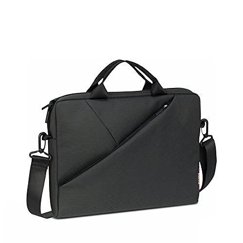 RivaHülle Laptop Tasche bis 15.6 Zoll - Innenfach für Tablets bis 10.1 TZoll & iPad - Hochwertige Notebook Tasche mit Zusatzfächern & gepolsterten Seitenwänden / 8730 grau