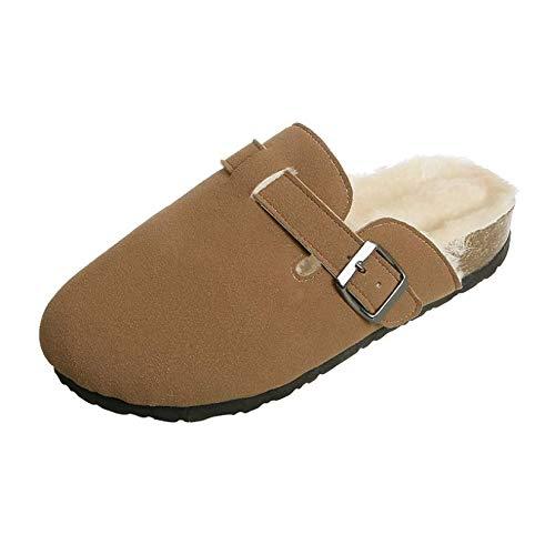 MNBV Pantuflas para mujer de la parte superior baja, zapatillas de felpa cálidas con forro de piel sintética para interiores y exteriores, suela de goma antideslizante