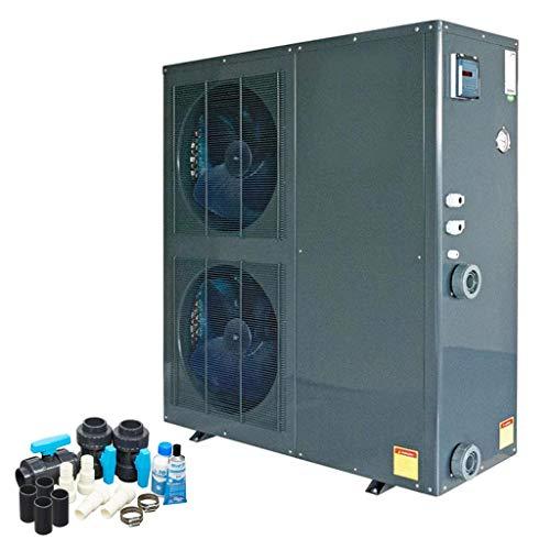 well2wellness ON/Off Pool Wärmepumpe Mida.Quick 21 - Poolheizung mit Einer Heizkapazität bis 18,6 kW Plus Bypass Set Basic + Abdeckung