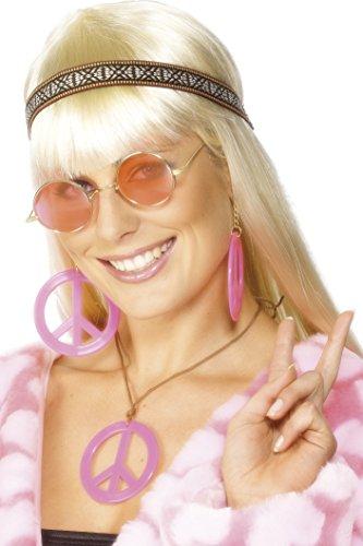 Smiffys - Hippieset Hippie hoofdband Peace teken roze oorring hoofdband voor parü