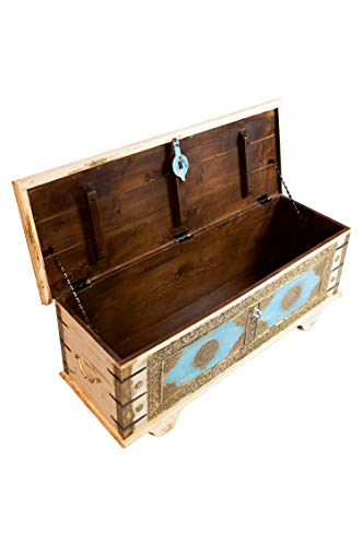 Orientalische Truhe Kiste aus Holz Murali 115cm groß in Weiß | Vintage Sitzbank mit Aufbewahrung für den Flur | Aufbewahrungsbox mit Deckel im Bad | Betttruhe als Kissenbox oder Deko im Schlafzimmer - 6