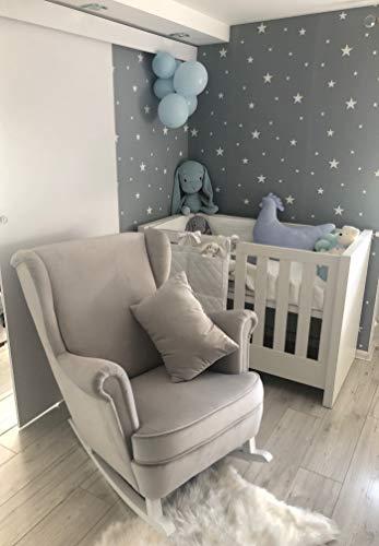 MARTHOME Schaukelstuhl füttern. Mutterschaftsschaukelstuhl, gepolsterter Sessel für die Babypflege. Velour (GRAU)