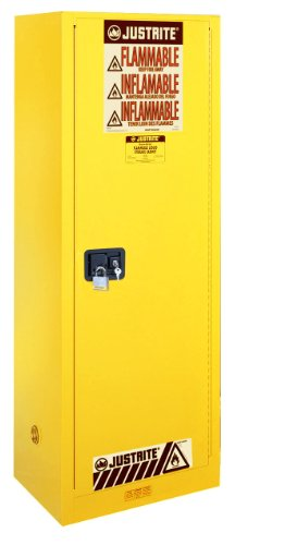 JUSTRITE Manufacturing 892200 Yellow 18 Gauge CR Steel Sure-Grip EX Slim Line Flammable Safety Cabinet with 1 Manual-Close Door, 22 gal Capacity, 23.25