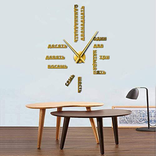 jukunlun Numéros De Langue Russe sans Cadre Bricolage Grande Horloge Murale Langues Étrangères Wall Art Room Decor Temps Horloge Cadeau pour Professeur Étranger 27Inch