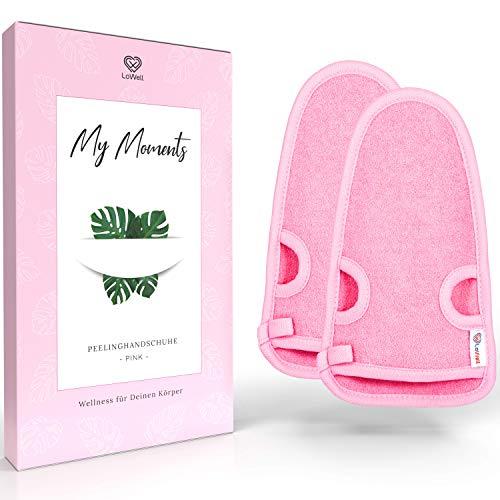 2 Stück - LoWell® - Peelinghandschuh rau inkl. Peeling-Guide + 2 x BONUS Saugnapf - Entspannung für deinen Körper - Wellness Handschuh - Dusch Schwamm Body - Hamam Handschuhe Gesicht (Pink)