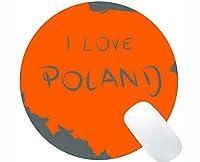 ラウンドマウスパッド滑り止め、ポーランドテーマパーソナライズされた四角形ゲームラウンドマウスパッド