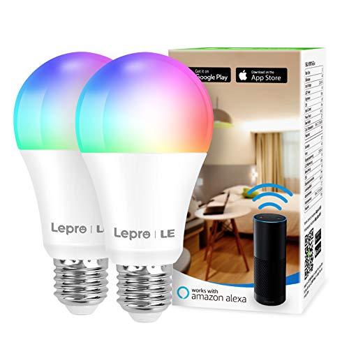 Lepro Bombilla WiFi E27, Bombilla Inteligente RGBW 9W (Equivalente a 60W), Bombilla LED WiFi RGB y Luz Blanca Regulable 806LM, Multicolor, Compatible con Alexa, Echo, Google Home, 2pcs(solo 2,4 GHz)
