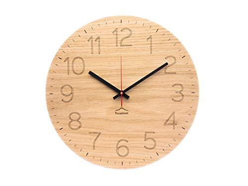 huamet. Wanduhr Holz Eiche mit arabischen Zahlen/Ziffern DUHRCHBLICK, rund, geräuschlos ohne Ticken - Qualitätsprodukt Made in Südtirol - CH80-A-1501