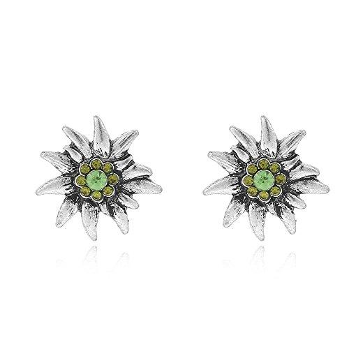 Alpenklunker Ohrstecker Edelsweiß Kristallglas viele Farben schmuckrausch Farbe Dunkel grün