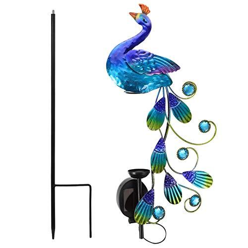 OSALADI Pájaro Luz Solar Jardín Pavo Real Estaca Medidor de Lluvia Exterior Brillante Pájaro Señal Paisaje Lámpara Decorativa Hierro Pavo Real Jardín Estaca para Jardín Patio Camino