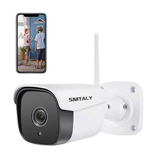 SMTALY C2 Cámara IP Exterior, 1080P IP66 Impermeable, 36 LEDs IR Visión Nocturna, Audio Bidireccional, Detección de Movimiento para Hogar/Baby Monitor/Mascotas/Tienda, iOS/Android/PC, Blanco