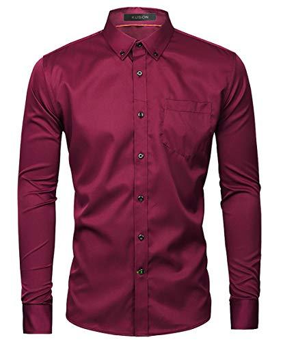 Kuson Herren Business Hemd Slim Fit für Freizeit Hochzeit Reine Farbe Hemden Langarmhemd Weinrot M