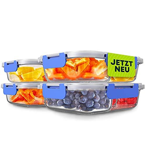 Goldhofer® Glasbehälter mit Deckel & Fächern | BPA-frei | ideal als Meal Prep Boxen, Glas Frischhaltedosen für Obst & Gemüse oder als nachhaltiger Einfrierbehälter